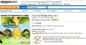 Cadeau et chansons pour enfants Toui Toui Vol 1 en vente sur Amazon